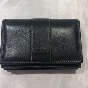 Coach small black leather wallet keychain